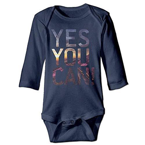 MSGDF Unisex Newborn Bodysuits Yes You Can Boys Babysuit Long Sleeve Jumpsuit Sunsuit Outfit Navy Lace Velvet Romper