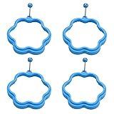 BESTONZON 4 Stücke Silikon Spiegeleiform Eierringe Blume Form für Bratpfanne Pfannkuchen (Blau)