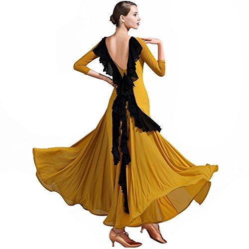 Q-JIU Walzer Modern Ballroom Tanz Dame Kostüm EIS Seide V-Back Ruffled Spleißen Langärmeligen Tanz - Eis Tanz Kostüm