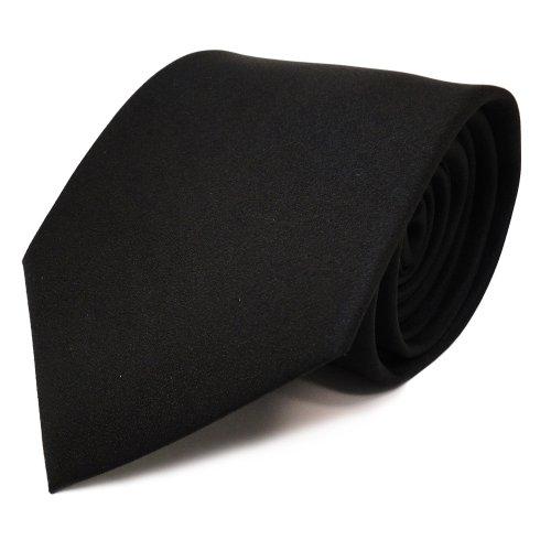 TigerTie schöne feine Designer Krawatte in schwarz Uni - Schlips Binder Tie