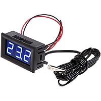 Longsw - Termómetro Digital LED para Monitor de Temperatura del Coche (-50~110 °C, 12 V), Azul