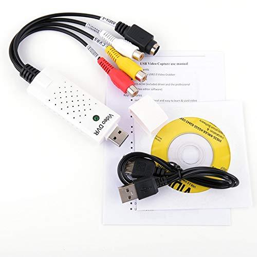 ARSUTE Adaptador de Tarjeta de Captura de Video USB 2.0 Capturador de Chip Utv007 TV DVD VHS Audio Capture Adaptador de convertidor USB S-Video para Win7 -White Hw-1403