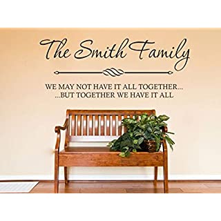PERSONALISED Family Wall Quote, Wall Art Sticker, Modern Decal, Vinyl Transfer Black | Large 107cm (w) x 42cm (h)