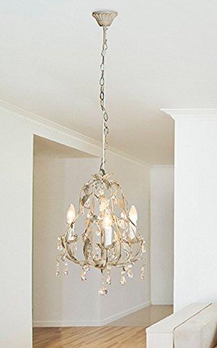 Gilde Metall Kronleuchter 3-Flammig antik-grau 60 CM Kette H = 50 cm D = 3,3 cm - Casablanca Drei Licht