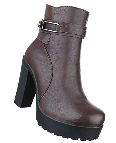 Damen Boots Stiefeletten Schuhe Plateau Schwarz Braun 36 37 38 39 40 41 Braun