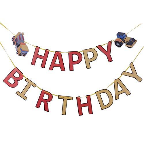 BESTOYARD Technik Fahrzeuge Happy Birthday Banner Kreative BAU Geburtstag Banner Boy Dump Truck Party Supplies für Geburtstagsfeier Dekoration