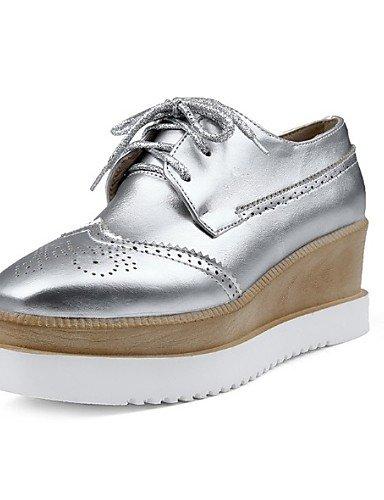 ZQ Scarpe Donna - Ballerine - Casual - Creepers - Piatto - Finta pelle - Nero / Rosa / Argento , silver-us10.5 / eu42 / uk8.5 / cn43 , silver-us10.5 / eu42 / uk8.5 / cn43 silver-us8 / eu39 / uk6 / cn39