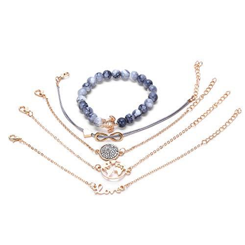Yuccer Layered Bracelet Kits de Bracelet Manchette Multicouches avec Pendentif Charmant Cadeau Anniversaire Femme Fille (Lettre Tortue)