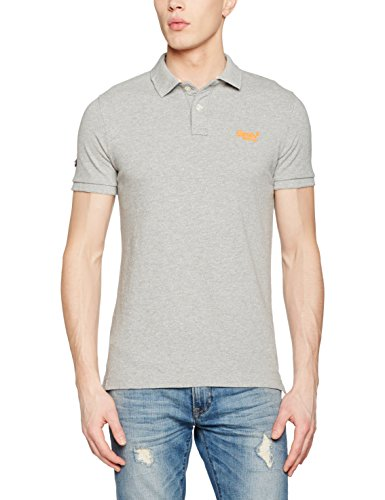 Superdry Herren Poloshirt Classic New Fit Bianco (Light Grey Grit Grindle)