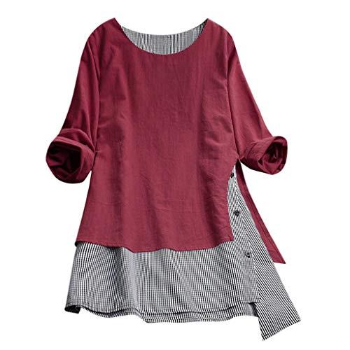 VJGOAL Damen T Shirt, Frauen Elegant Einfach Große Größen Top Sommer Mode Baumwolle und Leinen Gitter Nähen Taste Lange Ärmel Top(Rot,XXL) (White Queen Kostüm Übergröße)