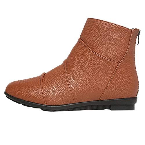 Mymyguoe Erbsen Schuhe Mode Vintage Runder Zeh Zurück Zipper Flacher kurzer Absatz Stiefeletten...