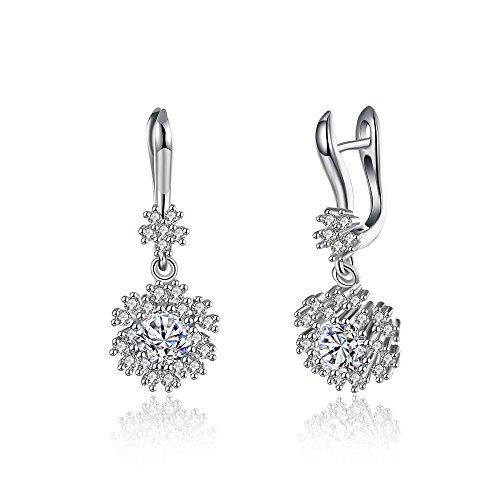szkmt Sterling Silber Ohrclips mit AAA Cubic Zirkonia Kristall Blumen Fassung-- Kronleuchter für Proms und Hochzeiten