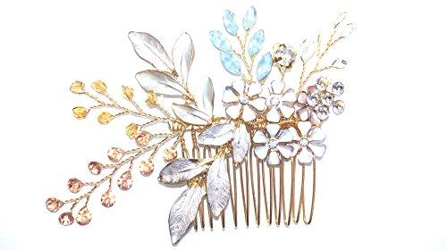 GENERIC Braut Haarkamm Vintage Silber Gold Blumen Kristall Braut Haarschmuck Vintage Perlen Kristall Braut Kopfschmuck Hochzeit Haarschmuck Vintage Strass...
