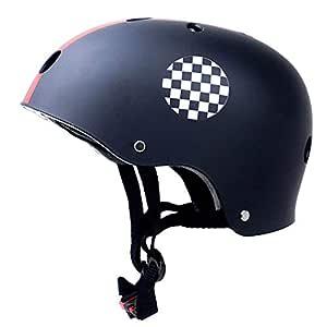 XuBa Skate Scooter Helmet Skateboard Skating Bike Crash Protective Safety Universal Cycling Helmet CE Certification Exquisite Applique Style Black M