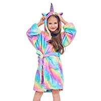 Beinou Unicorn Kids Robe Fleece Bathrobe Flannel Sleepwear Hooded Shower Robe, Rainbow Unicorn, 6-7 Years