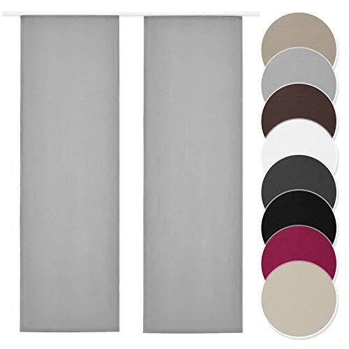 Melody Flächenvorhang 2er Set hellgrau Blickdicht Raumtrenner mit Klettband Paneelwagen 60x245cm einfarbig #9018
