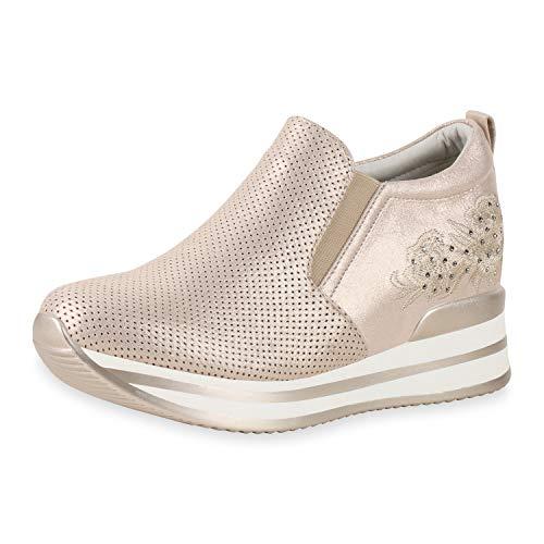 SCARPE VITA Damen Plateau Sneaker Keilabsatz Schuhe Metallic Turnschuhe Slip On Wedges Strass Stickereien Keilsneaker 181201 Rose Gold Metallic 39 Gold Platform Wedge Schuhe