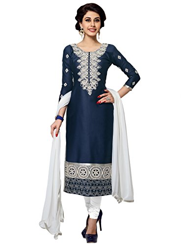 KANCHNAR Women's Cotton Dress Material(445D1056_Navy Blue And White Free Size)