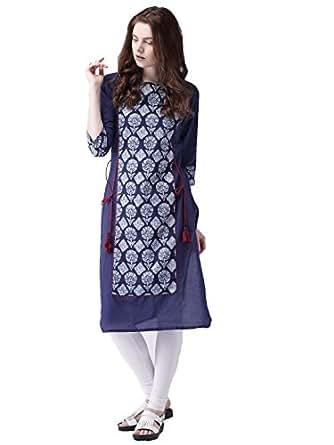 Amayra Women's Cotton Straight Printed Kurti(TCK036_Blue_XS)