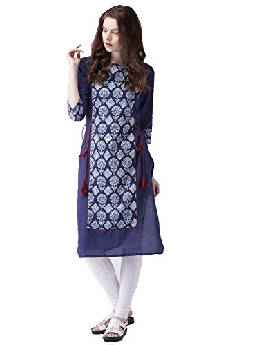 Amayra Printed Cotton Kurti for Women's Party Wear Designer(Navy Blue)