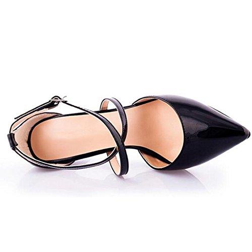 W&LMLato vuoto Scarpe singole Femmina Taglia larga Scarpe cinghie appuntito Tacchi alti Sandali estivi Sandali da lavoro Black