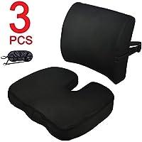 CompuClever Memory Foam Cojines de asiento y soporte lumbar proporcionan alivio para el dolor de espalda inferior Ciática Tailbone Coccyx Almohada de asiento ortopédica para silla de oficina Coche Sofá Silla de ruedas al aire libre con funda lavable Negro