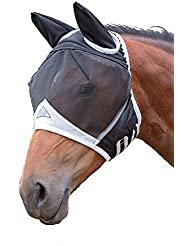 Shires Fine Mesh Fly Mask With Ears - Black or White