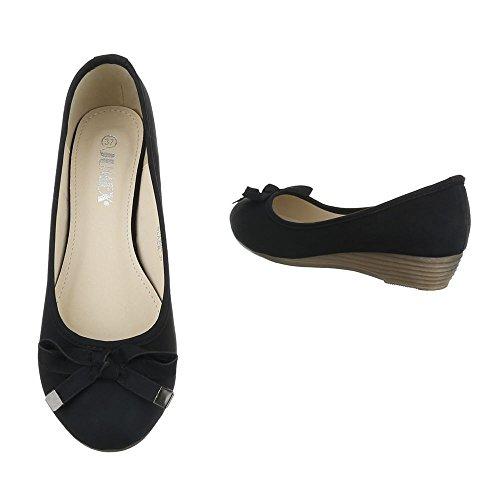 femme Noir Design compensées chaussures Ital wqASCx0q