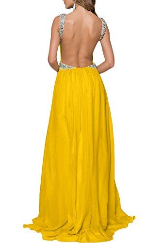 Missdressy Damen 2017 Neu Sexy A-Linie V-Ausschnitte Chiffon Tuell Abendkleider Schleppe Lang Ballkleider Festkleider Lang Rosa