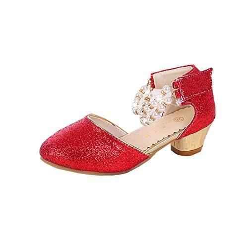 Mädchen-formale Schein-Schuhe Hübsche Perle Knöchelriemen Pumps (32/ Innenlänge 20cm, Rot)