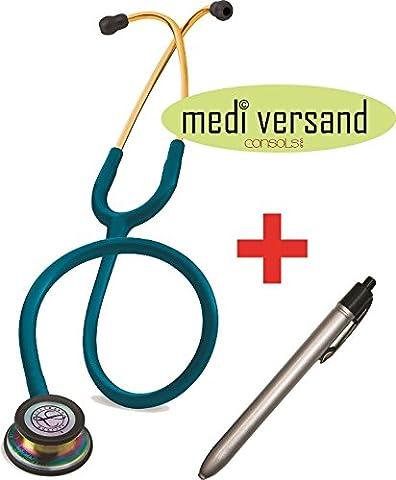Littmann Stethoskop Classic III , Rainbow Finish karibik + gratis Diagnostikleuchte silber (3m Littmann Stethoskope Leichte Stethoskop)