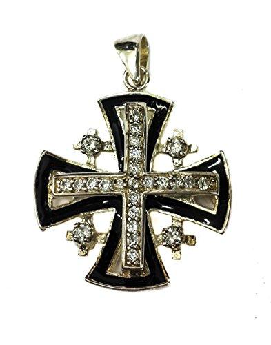 Croce argento 925 cristalli Swarovski smalto nero ciondolo Terra Santa di Gerusalemme