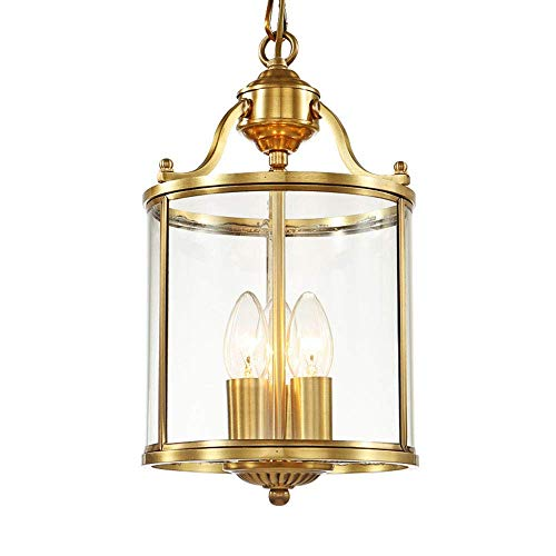 MoiHL Kupfer Kerze kronleuchter Glas lampenschirm Restaurant bar Gang europäischen Moderne 3 licht pendelleuchte, 30 cm * 38 cm,30CM * 38CM -