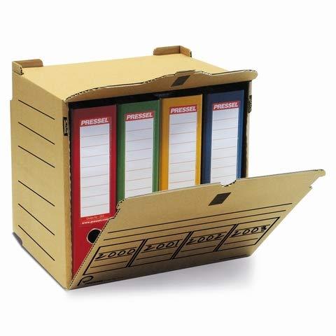 Pressel® Archivbox, XL, für 4 Ordner, Wellpappe, Klettverschluss, A4, 36 x 31 x 34 cm, natur (10 Stück), Sie erhalten 1 Packung á 10 Stück