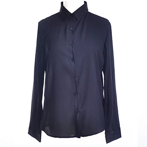 Shirt Autunno Spring Leisure Shirt XGMSD Femminile V-collare Black