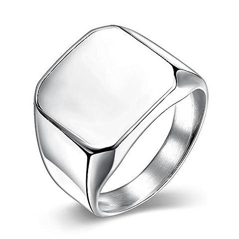 nykkola en acier inoxydable poli carré classique mariage fiançailles Eternity Bague Taille 7à 10