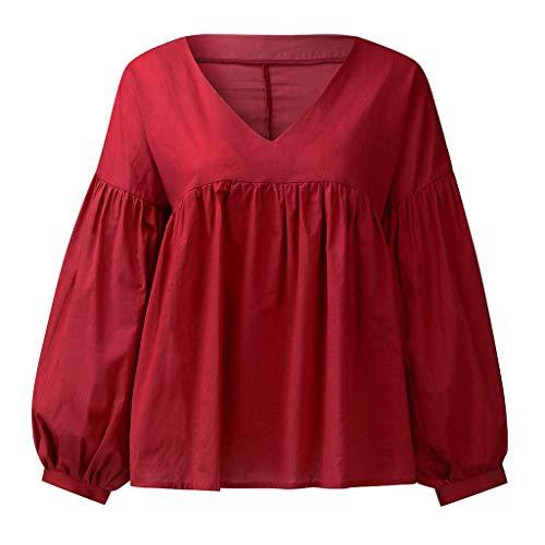 TAMALLU Damen T-Shirt Modische Einfarbig V-Ausschnitt Lange Ärmel Baumwolle Leinen Tops(Rot,2XL) (Brautjungfer Fitted T-shirt)