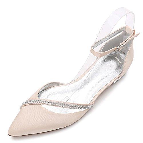 L@YC Frauen Hochzeit Schuhe D5047-25 Spring Fall funkelnde künstliche Diamond Bridal Court Schuhe, champagne, 44