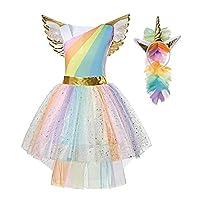 Girls Kids Unicorn Fancy Dress Costume Princess Dressing Up Outfit Rainbow Tutu with Headband and Wing 3-8 Years