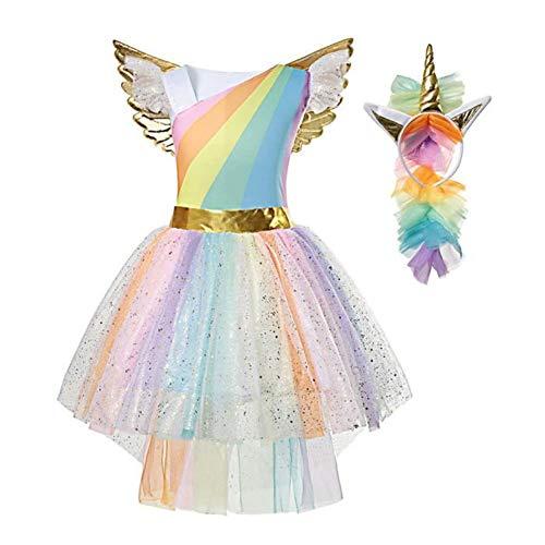 Mädchen Prinzessin Einhorn Kleid Kostüm (130-140(Etikett 140)) (Rosa Einhorn Kostüm)