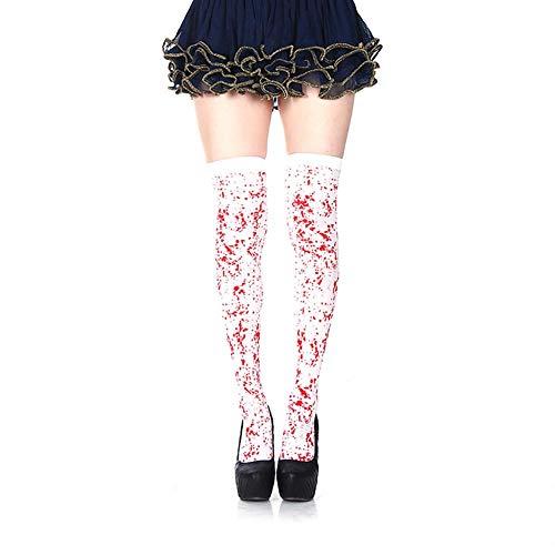 Aisoway Frauen Gothic Skeleton Lange Socken Knochen Blooded Socken für Halloween Cosplay Kostüme Bloodstain Socken Frauen