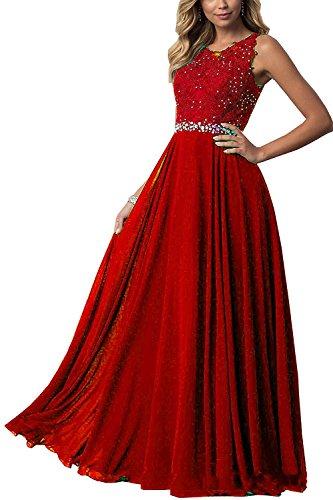 CLLA dress Damen Chiffon Spitze Abendkleider Elegant Brautkleid Lang Festkleid Ballkleider(Rot,34)