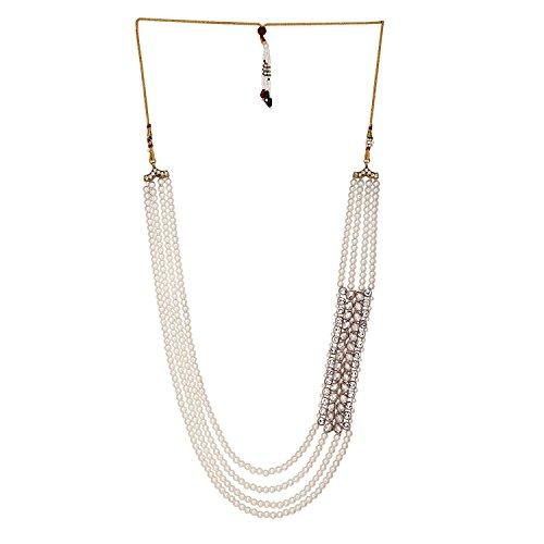 Sanjog Embellished Premium Long Pearl Jewelry Necklace Pearl Men Groom For Wedding Wear(Dule Ki Mala)