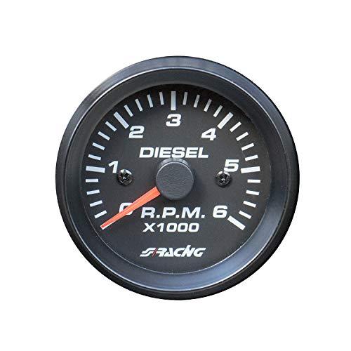 Simoni Racing TM/BD compteurs 0 - 6000 tr/min pour Voitures Diesel, noir