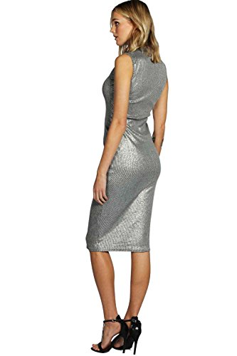 Argent Tall Flora Metallic High Neck Mini Dress Argent