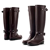 LILY999 Wellington Boots Women Waterproof Rain Boots Festival Wellies Boots Half-Height Zip Rubber Shoes,Best Chioce for Casual and Daily Wear(Brown,7.5 UK)
