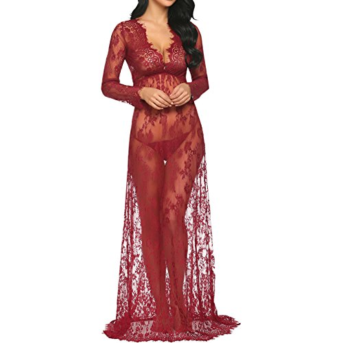(Nilover Langes Damen Kleid, Umstandsmode aus durchsichtiger Spitze, für sexy Fotos, Gr. S-4XL Gr. XXL, weinrot)