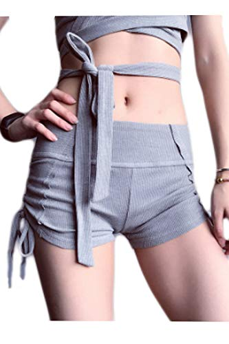 Frauen Treiben Ribber Yoga Stricken Shorts Hose Shorts Damen Lässig Young Fashion Locker Short Sommer Short Hose (Color : Grey, Size : M) -