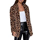 Manadlian DamenMantel Frau Streetwear Kleidung WinterLeopard Kapuzenpullover Kunstpelz Lange Ärmel Strickjacke Jacke Outwear