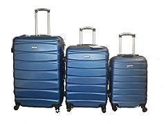 Idea Regalo - DZL Set 3 Trolley valigie rigide in ABS e policarbonato 4 ruote piroettanti colori vari (BLU)